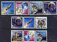 Ajman 19667 Space Achievements perf set of 10 cto used, Mi 93-102, SG 88-98