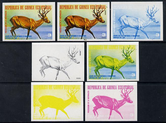 Equatorial Guinea 1977 South American Animals 3e (Reindeer) set of 7 imperf progressive proofs comprising the 4 individual colours plus 2, 3 and 4-colour composites, a superb and important group unmounted mint (as Mi 1250)