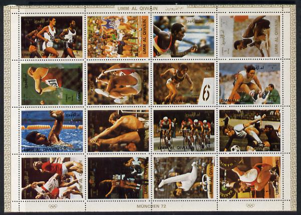 Umm Al Qiwain 1972 Munich Olympics sheetlet containing 16 values unmounted mint (Mi 938-53A)