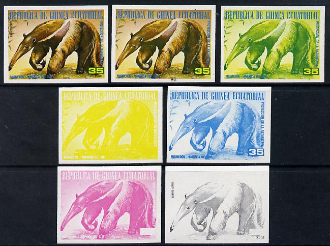 Equatorial Guinea 1977 South American Animals 35e (Ant-eater) set of 7 imperf progressive proofs comprising the 4 individual colours plus 2, 3 and 4-colour composites, a superb and important group unmounted mint (as Mi 1254)