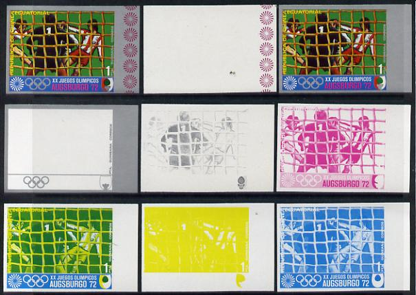 Equatorial Guinea 1972 Munich Olympics (1st series) 1pt (Football) set of 9 imperf progressive proofs comprising the 5 individual colours (incl silver) plus composites of...