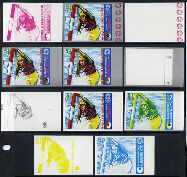 Equatorial Guinea 1972 Munich Olympics (1st series) 5pts (Canoe Slalom singles) set of 9 imperf progressive proofs comprising the 5 individual colours (incl silver) plus ...