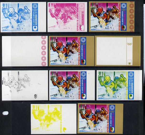 Equatorial Guinea 1972 Munich Olympics (1st series) 8pts (Canoe Slalom 2-man) set of 9 imperf progressive proofs comprising the 5 individual colours (incl gold) plus comp...