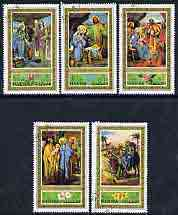 Fujeira 1971 Christmas Paintings perf set of 5 cto used, Mi 764-68A*