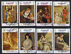 Fujeira 1968 International Letter Writing Week set of 8 paintings depicting reading and writing of letters cto used, Mi 276-83