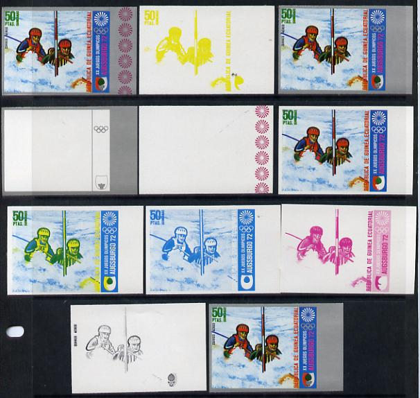 Equatorial Guinea 1972 Munich Olympics (1st series) 50pts (Canoe Slalom 2-man) set of 9 imperf progressive proofs comprising the 5 individual colours (incl silver) plus c...