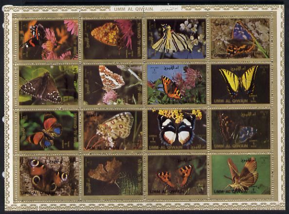 Umm Al Qiwain 1972 Butterflies sheetlet containing 16 values unmounted mint (Mi 1498-1513A)