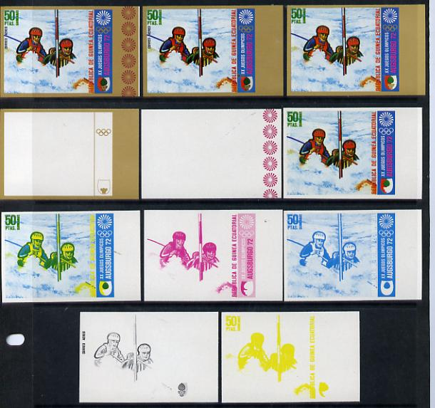 Equatorial Guinea 1972 Munich Olympics (1st series) 50pts (Canoe Slalom 2-man) set of 9 imperf progressive proofs comprising the 5 individual colours (incl gold) plus com...