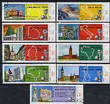 Yemen - Republic 1970 Football World Cup - 1st series perf set of 9 cto used, Mi 1088-96*