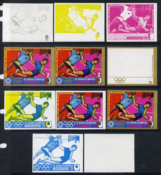 Equatorial Guinea 1972 Munich Olympics (1st series) 2pts (Handball) set of 9 imperf progressive proofs comprising the 5 individual colours (incl gold) plus composites of ...