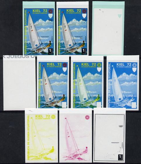 Equatorial Guinea 1972 Munich Olympics (3rd series) 1pt Sailing set of 10 imperf progressive proofs comprising 5 individual colours, plus various composites, a superb and important group unmounted mint (as Mi 98)