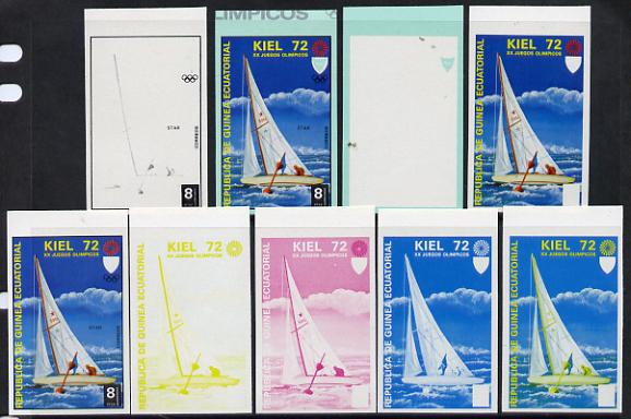 Equatorial Guinea 1972 Munich Olympics (3rd series) 8pts Sailing set of 10 imperf progressive proofs comprising 5 individual colours, plus various composites, a superb and important group unmounted mint (as Mi 102)