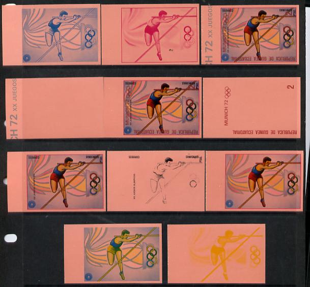 Equatorial Guinea 1972 Munich Olympics (4th series) 2pts (Pole Vault) set of 10 imperf progressive proofs on pink paper comprising 5 individual colours, plus various comp...