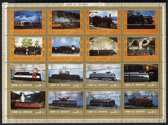 Umm Al Qiwain 1972 Locomotives sheetlet containing 16 values unmounted mint (Mi 1210-25A)