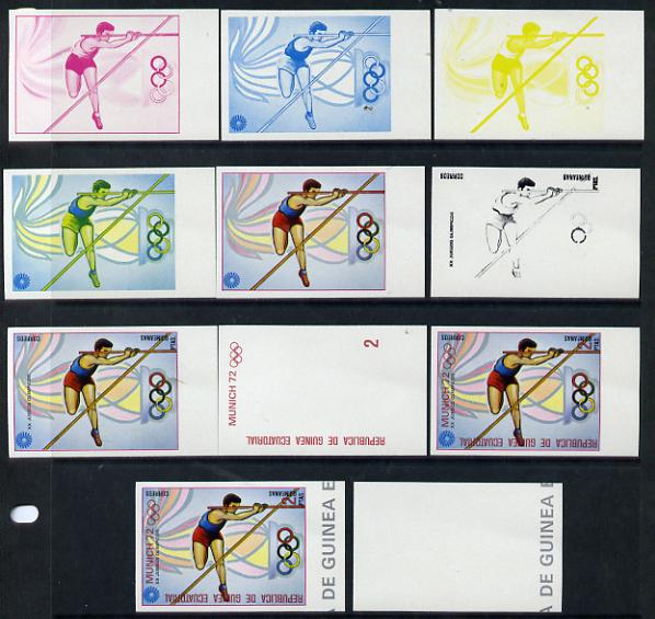 Equatorial Guinea 1972 Munich Olympics (4th series) 2pts (Pole Vault) set of 10 imperf progressive proofs on white paper comprising 5 individual colours, plus various com...