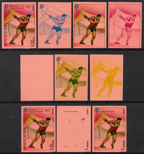 Equatorial Guinea 1972 Munich Olympics (4th series) 8pts (Hammer) set of 10 imperf progressive proofs on pink paper comprising 5 individual colours, plus various composites, a superb and important group unmounted mint (as Mi 112)