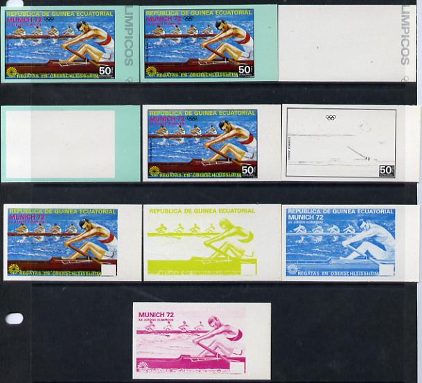 Equatorial Guinea 1972 Munich Olympics (3rd series) 50pts 4-man Rowing set of 10 imperf progressive proofs comprising 5 individual colours, plus various composites, a superb and important group unmounted mint (as Mi 104)