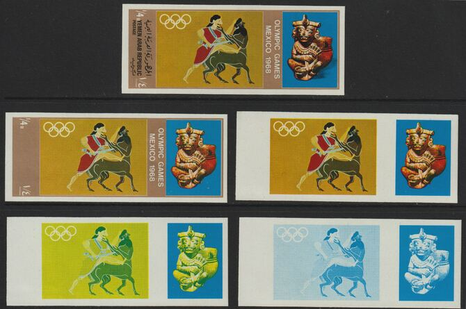 Yemen - Republic 1967 Olympic Games (Greek & Mexican Folklore) \DDb set of 5 imperf progressive proofs comprising single colour, 2, 3, 4 and all 5-colour composites, a superb and important group unmounted mint (as Mi 777)