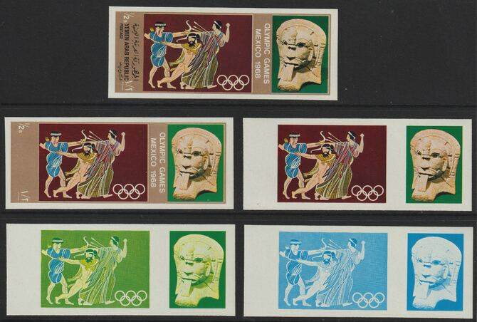 Yemen - Republic 1967 Olympic Games (Greek & Mexican Folklore) 1/2b set of 5 imperf progressive proofs comprising single colour, 2, 3, 4 and all 5-colour composites, a superb and important group unmounted mint (as Mi 779)