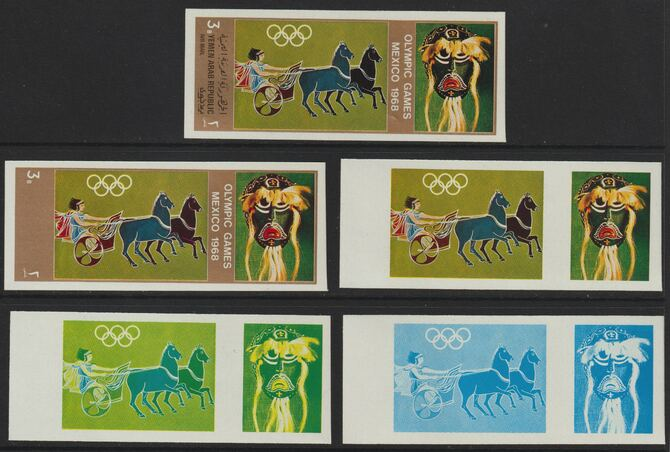 Yemen - Republic 1967 Olympic Games (Greek & Mexican Folklore) 3b set of 5 imperf progressive proofs comprising single colour, 2, 3, 4 and all 5-colour composites, a superb and important group unmounted mint (as Mi 781)