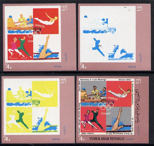 Yemen - Republic 1970 German Olympic Gold Medal Winners \DDb (Rowing, Gymnastics, Swimming & Skating) set of 4 imperf progressive proofs comprising 2, 3, 4 and all 5-colour composites, a superb and important group unmounted mint (as Mi 1269)