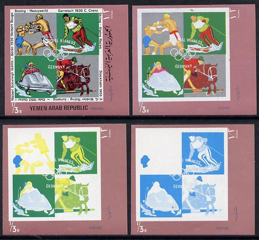 Yemen - Republic 1970 German Olympic Gold Medal Winners \DCb (Boxing, Alpine Racing, Show Jumping & Bobsleigh) set of 4 imperf progressive proofs comprising 2, 3, 4 and all 5-colour composites, a superb and important group unmounted mint (as Mi 1271)