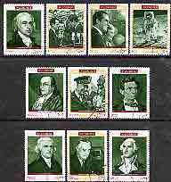 Fujeira 1970 Famous Americans perf set of 10 cto used, Mi 485-94*