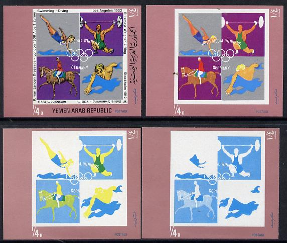 Yemen - Republic 1970 German Olympic Gold Medal Winners \DDb (Diving, Weight Lifting, Swimming & Dressage) set of 4 imperf progressive proofs comprising 2, 3, 4 and all 5-colour composites, a superb and important group unmounted mint (as Mi 1270)