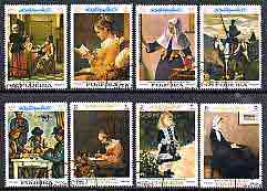 Fujeira 1967 Famous Paintings perf set of 8 cto used, Mi 198-205A