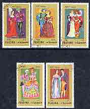 Fujeira 1972 European Historical Costumes perf set of 5 cto used, Mi 870-74A*