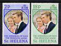 St Helena 1973 Royal Wedding perf set of 2 unmounted mint, SG 295-96