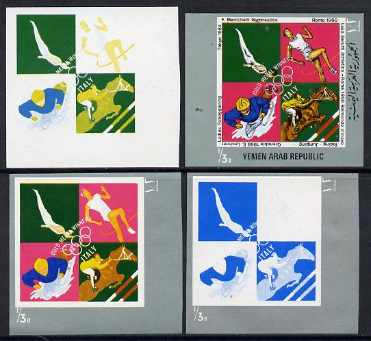 Yemen - Republic 1971 Italian Olympic Gold Medal Winners 1/3b (Gymnastics, Athletics, Show Jumping & Tobagganing) set of 4 imperf progressive proofs comprising single & multi-colour composites, a superb and important group unmounted mint (as Mi 1482)