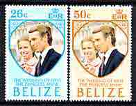 Belize 1973 Royal Wedding perf set of 2 unmounted mint, SG 360-61