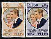 Seychelles 1973 Royal Wedding perf set of 2 unmounted mint, SG 321-22