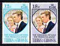 Turks & Caicos Islands 1973 Royal Wedding perf set of 2 unmounted mint, SG 403-404