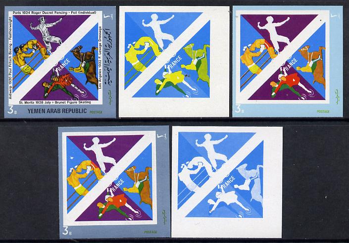 Yemen - Republic 1972 French Olympic Gold Medal Winners 3b (Boxing, Fencing, Dressage & Figure Skating) set of 5 imperf progressive proofs comprising single colour, 2, 3, 4 and all 5-colour composites, a superb and important group unmounted mint (as Mi 1499)