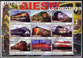 Somalia 2002 Diesel Locomotives #1 perf sheetlet containing set of 9 values cto used
