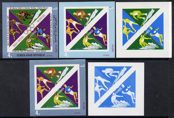 Yemen - Republic 1972 French Olympic Gold Medal Winners 4b (Boxing, Alpine Racing, Marathon & Skiing) set of 5 imperf progressive proofs comprising single colour, 2, 3, 4 and all 5-colour composites, a superb and important group unmounted mint as Mi 1500
