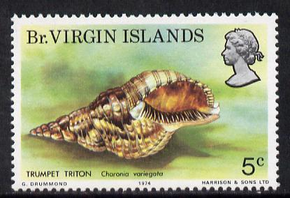 British Virgin Islands 1974 Seashells 5c with wmk error (type 53 of Lesotho) unmounted mint SG 317a