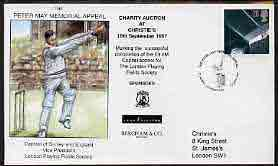 Great Britain 1997 illustrated cover for Peter May Charity Auction with special 'Cricket' cancel