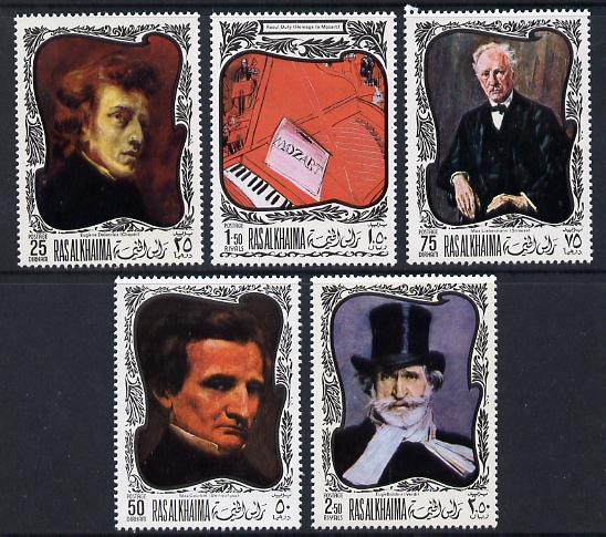 Ras Al Khaima 1969 Paintings of Composers set of 5 unmounted mint (Mi 276-80A)
