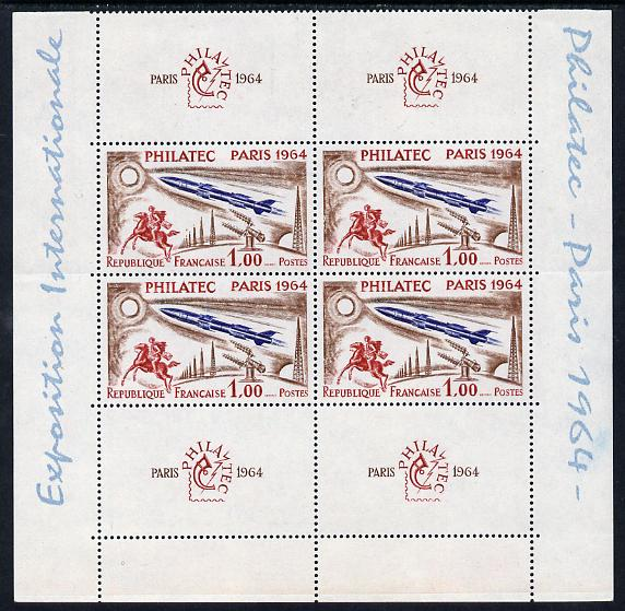 France 1964 Philatec 1964 Stamp Exhibition perf m/sheet u/m but folded along perfs SG MS1651a