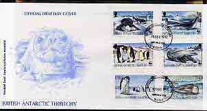 British Antarctic Territory 1992 WWF - Seals & Penguins perf set of 6 on illustrated cover with first day cancels, SG 208-13