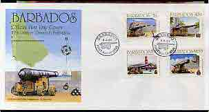 Barbados 1993 17th Century English Cannon perf set of 4 on illustrated cover with first day cancels, SG 1000-1003, stamps on militaria, stamps on forts, stamps on cannons