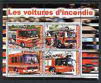 Congo 2003 Fire Engines #1 perf sheetlet containing 4 values cto used