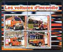 Congo 2003 Fire Engines #3 perf sheetlet containing 4 values cto used