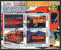 Guinea - Conakry 2003 Legendary Trains of the World #01 perf sheetlet containing 4 values with Rotary Logo, cto used