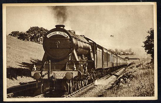 Postcard by Ian Allan - LNER down Yorkshire Pullman headed by Class A1 4-6-2 No.4481 St Simon, sepia, unused and in good condition