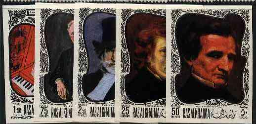 Ras Al Khaima 1969 Paintings of Composers imperf set of 5 unmounted mint (Mi 276-80B)