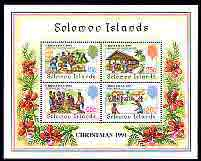 Solomon Islands 1991 Christmas perf m/sheet containing set of 4 unmounted mint, SG MS707, stamps on christmas, stamps on cricket